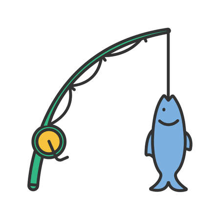 Spinning rod with fish color icon. Isolated vector illustration