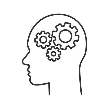 Tête humaine avec roues dentées à l'intérieur de l'icône linéaire. Intelligence artificielle Progrès de la technologie Illustration de la ligne mince. Symbole du robot Contour. Dessin de contour isolé de vecteur Vecteurs