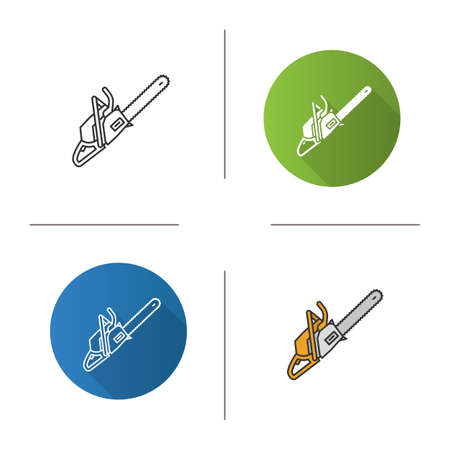 Chainsaw icon. Flat design, linear and color styles. Petrol-driven power chainsaw. Isolated vector illustrations