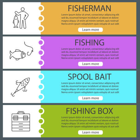 Fishing web banner templates set. Fisherman, lure, fish and hook, tackle box. Website menu items. Vector headers design concepts Vettoriali