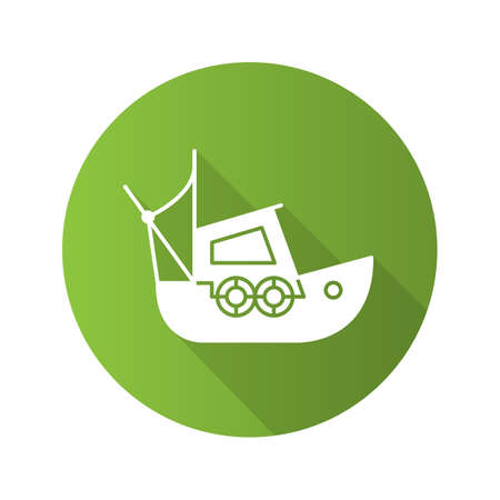 Fisher boat flat design long shadow glyph icon. Yacht vector silhouette illustration.
