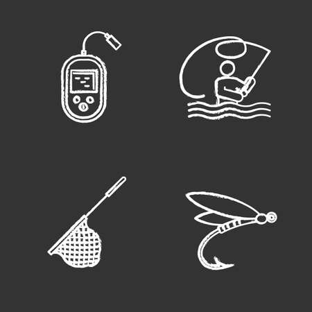 Fishing chalk icons set. Fly fishing, echo sounder, landing net, insect lure. Isolated vector chalkboard illustrations
