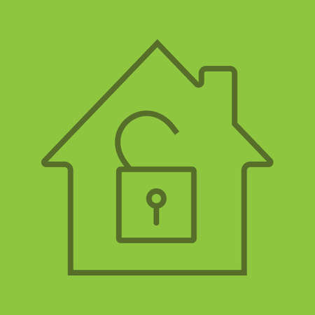 Unlocked house linear icon. Home protection. House with open padlock inside. Thin line outline symbols on color background. Vector illustration Illustration