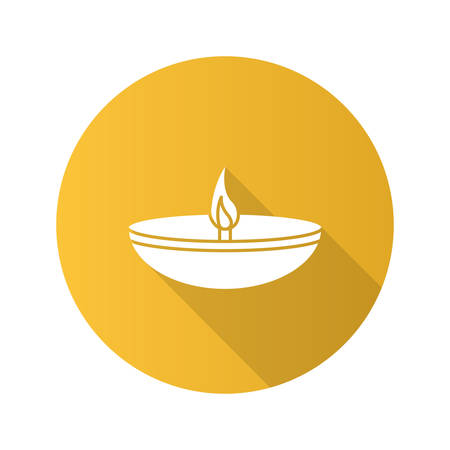 Islamic oil lamp flat design long shadow glyph icon. Diya. Islamic culture. Burning bowl oil lamp. Vector silhouette illustration