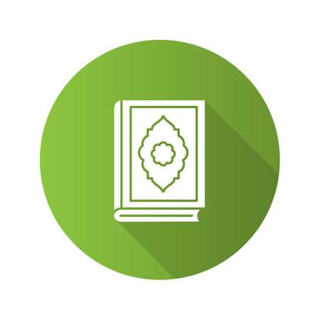 Quran book flat design long shadow glyph icon. Islamic religion vector silhouette illustration.