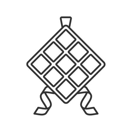 Ketupat Linear Icon Thin Line Illustration Rice In Palm Leaf