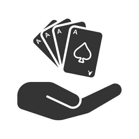 Open hand with playing cards glyph icon. Gambling silhouette symbol. Casino. negative space vector isolated illustration.
