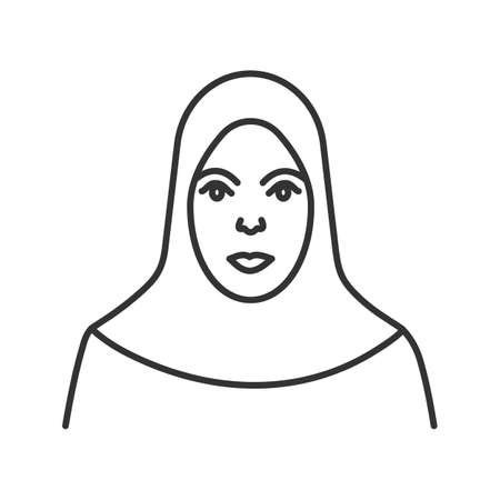 Muslim woman linear icon. Thin line illustration. Islamic culture. Hijab. Contour symbol. Vector isolated outline drawing Illustration