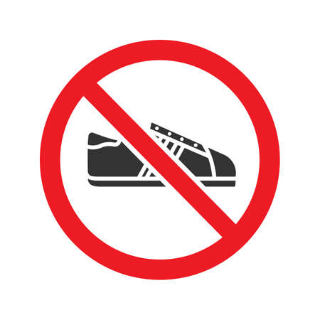 Forbidden sign with sneaker glyph icon. Stop silhouette symbol. No shoes prohibition. Negative space. Vector isolated illustration