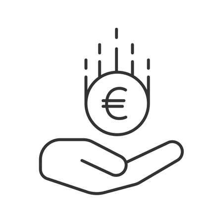 Open hand with euro linear icon. European Union currency. Thin line illustration. Saving money. Contour symbol. Vector isolated outline drawing. Illustration