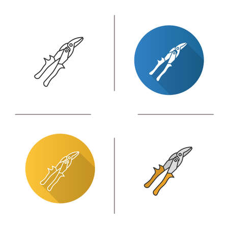 Tin snips icon. Flat design, linear and color styles. Snip cutters. Isolated vector illustrations