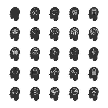Inside head glyph icons set. Human mind. Silhouette symbols. Thoughts about love, business, money, art, science, alcohol, drugs. Vector isolated illustration