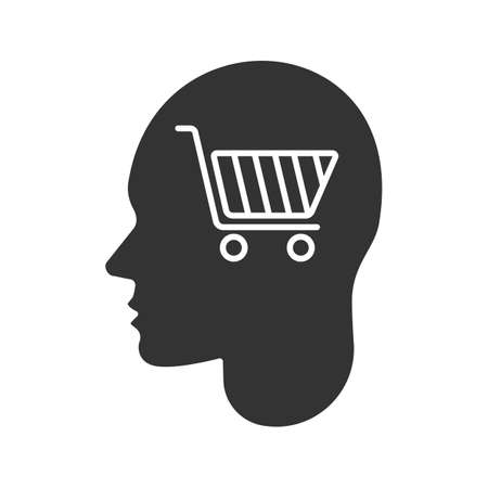 Human head with shopping cart glyph icon. Purchase. Silhouette symbol. Shopaholic. Negative space. Vector isolated illustration Ilustração