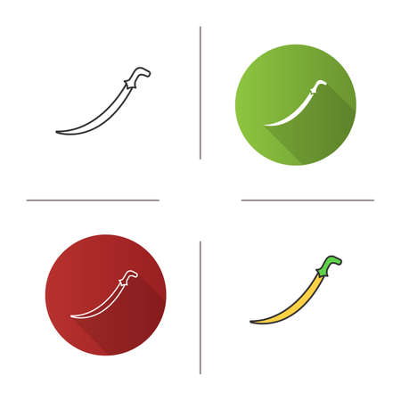 Scimitar sword icon. Flat design, linear and color styles. Sabre. Muslim weapon. Islamic culture. Isolated vector illustrations