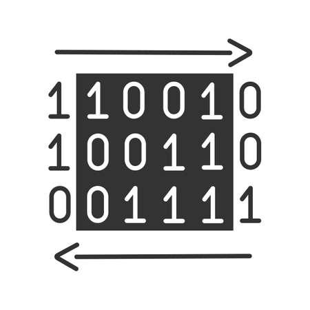 Data transfer glyph icon with binary code.