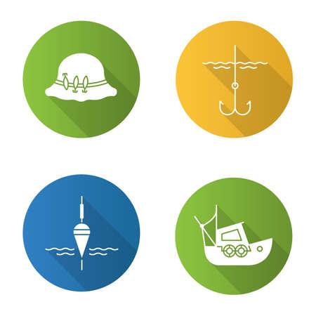 Fishing flat design long shadow glyph icons set. Fishing float, fisherman`s hat, boat, fishhook. Vector silhouette illustration Stock Illustratie