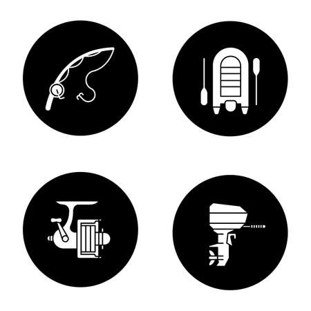 Fishing glyph icons set. Spinning rod and reel, motor boat. Vector white silhouettes illustrations in black circles