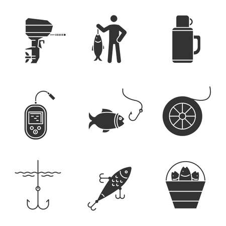 Fishing glyph icons set. Outboard boat motor, fisherman, echo sounder, fishhook, fishing line spool, lure, bucket with catch. Silhouette symbols. Vector isolated illustration Ilustração
