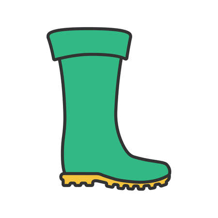 Rubber boot color icon. Waterproof shoe. Isolated vector illustration