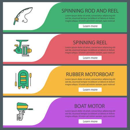 Fishing web banner templates set. Spinning rod and reel, motor boat. Website color menu items. Vector headers design concepts Stock Illustratie