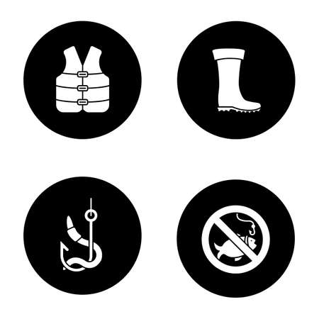 Fishing glyph icons set. Life jacket, bait, rubber boot, no fishing sign. Vector white silhouettes illustrations in black circles Vettoriali