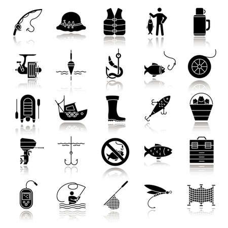 Fishing drop shadow black glyph icons set