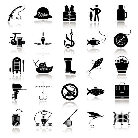 Fishing drop shadow black glyph icons set