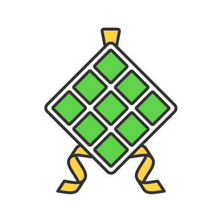 Ketupat color icon. Rice in palm leaf. Isolated vector illustration