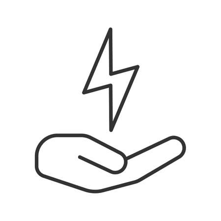Open hand with lightning bolt linear icon