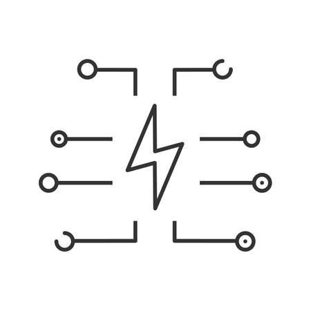 Device charging linear icon. Lightning bolt. Thin line illustration. Power saving mode. Contour symbol. Vector isolated outline drawing