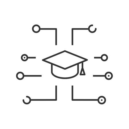 Educational application linear icon. Thin line illustration. Digital education. Graduation cap. Contour symbol. Vector isolated outline drawing