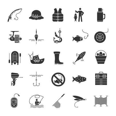 Fishing glyph icons set. Angling equipment. Fish, bait, hook, tackle, boat, rod, fisherman, echo sounder, uniform. Silhouette symbols. Vector isolated illustration