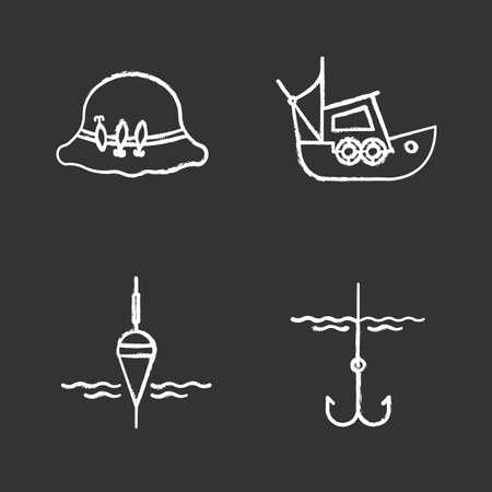 Fishing chalk icons set. Isolated vector chalkboard illustrations