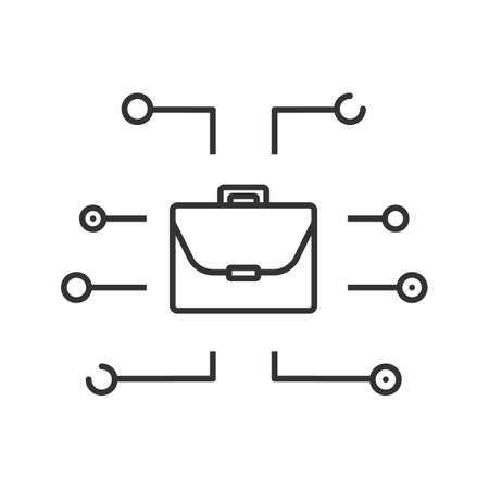 Freelancing linear icon. Digital business. Thin line illustration. Briefcase. Cyberspace. Contour symbol. Vector, isolated outline drawing.
