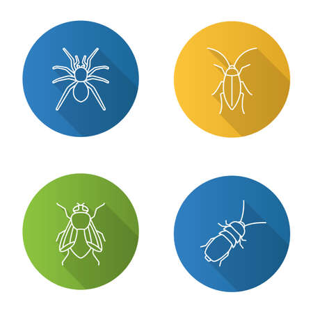 Insects flat linear long shadow icons set Vector outline illustration Illustration