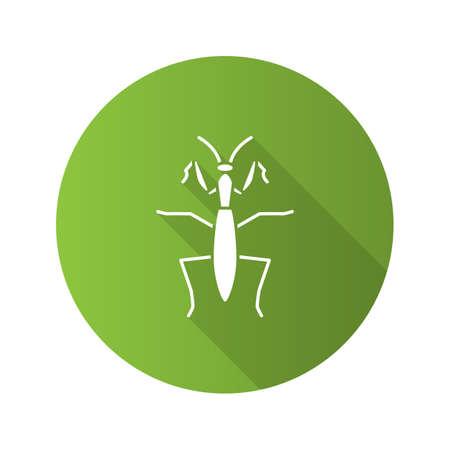 Praying mantis flat design long shadow glyph icons set.
