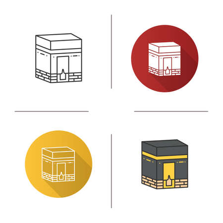 Kaaba icon on Flat design, linear and color styles Isolated vector illustrations