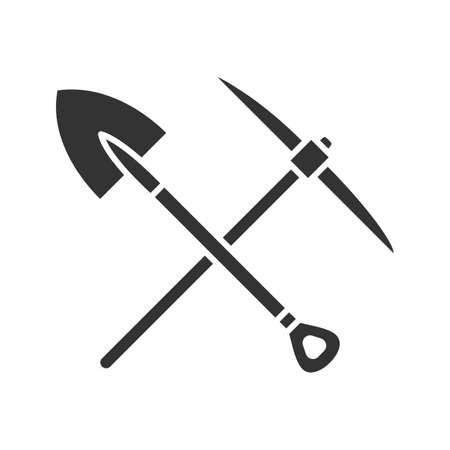 Illustrazione isolata vettore attraversato icona del glifo della pala e dei picconi Vettoriali