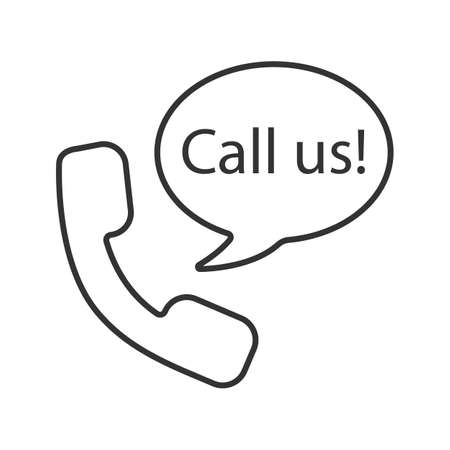 Handset and speech bubble with call us inside linear icon Vector isolated outline drawing