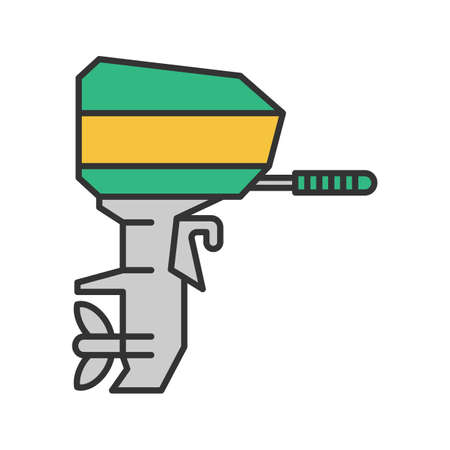 Outboard boat motor color icon. Boat engine.Isolated vector illustration
