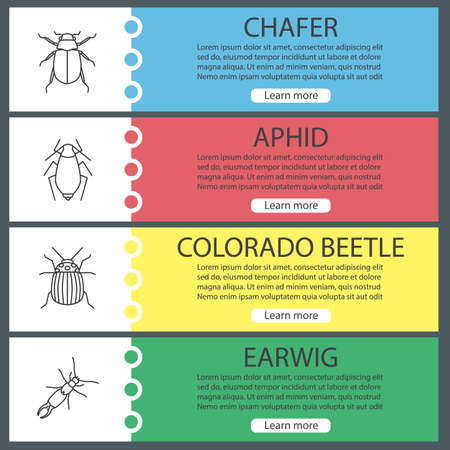 Insects web banner templates set. Chafer, aphid, colorado beetle, earwig. Website menu items. Vector headers design concepts Illustration