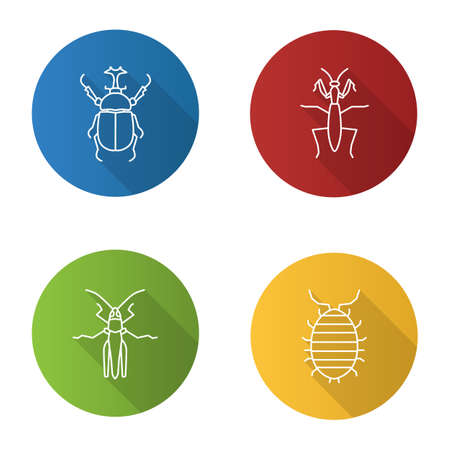 Insects flat linear long shadow icons set. Hercules beetle, mantis, grasshopper, woodlouse. Vector outline illustration Ilustração