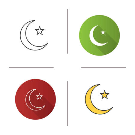 Star And Crescent Moon Icon Flat Design Linear And Color Styles