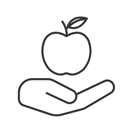 Open hand with apple linear icon. Healthy nutrition. Thin line illustration. Eco products. Contour symbol. Vector isolated outline drawing