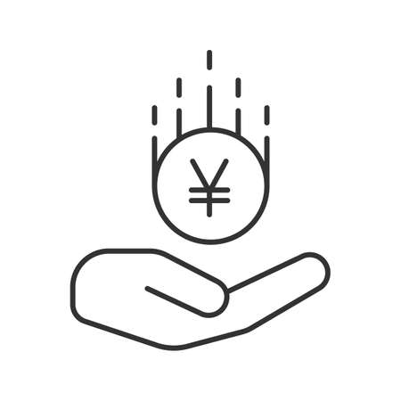 Open hand with yen coin linear icon. Saving money. Thin line illustration. Contour symbol. Vector isolated outline drawing