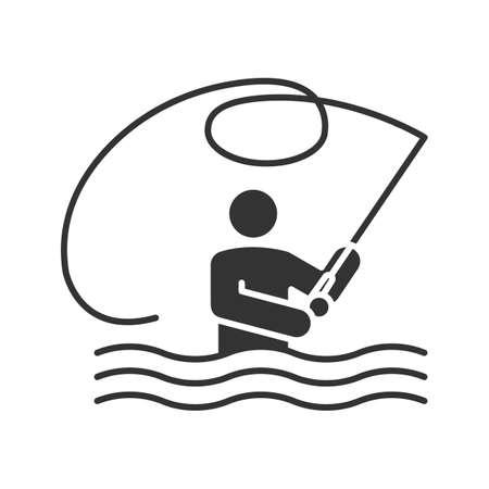 pêche glyphe icône illustration vectorielle