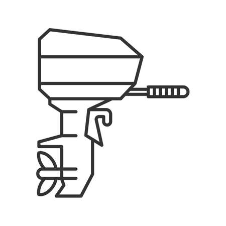 Outboard boat motor linear icon. Thin line illustration. Boat engine. Contour symbol. Vector isolated outline drawing