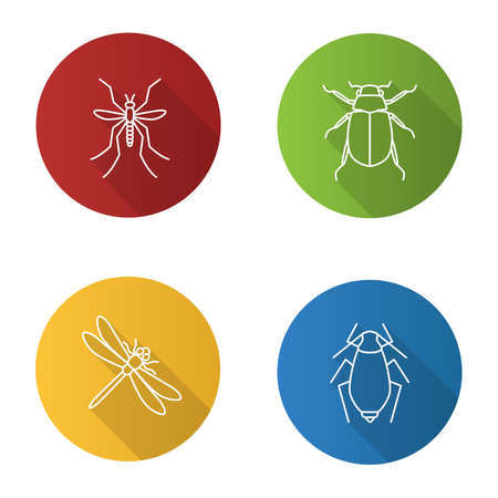 Insects flat linear long shadow icons set. Mosquito, chafer, dragonfly, aphid. Vector outline illustration