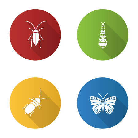 Insects flat design long shadow glyph icons set. Cockroach, caterpillar, butterfly, stink beetle. Vector silhouette illustration