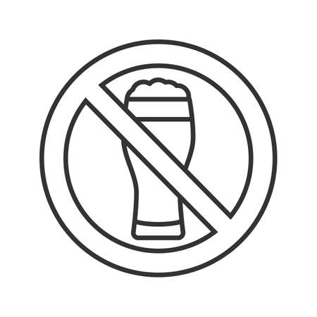 Forbidden sign with beer glass linear icon. Thin line illustration. No alcohol prohibition. Stop contour symbol. Vector isolated outline drawing Illustration